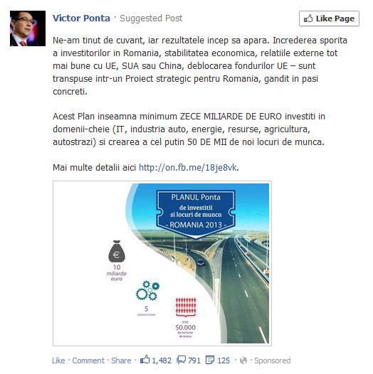 Ponta fumează chestii tari, apoi scrie pe Facebook